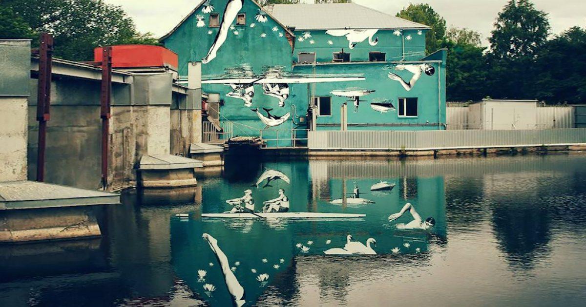 Ζωγράφισε μια τοιχογραφία ανάποδα ώστε να αντικατοπτρίζεται στη λίμνη!