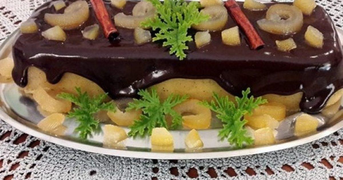 Χαλβάς με γλυκό κουταλιού και γκανάζ σοκολάτας
